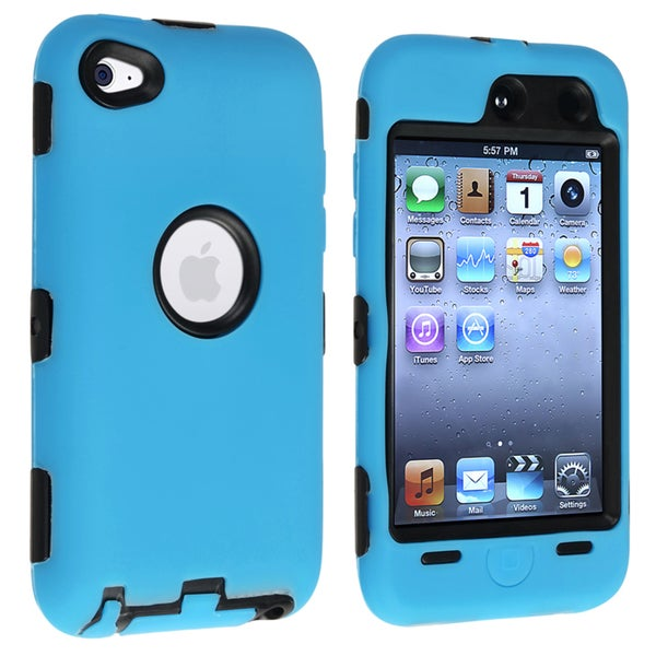 INSTEN Black/ Sky Blue Hybrid Case Cover for Apple iPod touch Generation 4