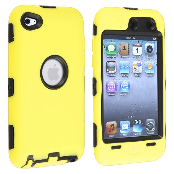 INSTEN Black/ Yellow Hybrid iPod Case Cover for Apple iPod touch Generation 4