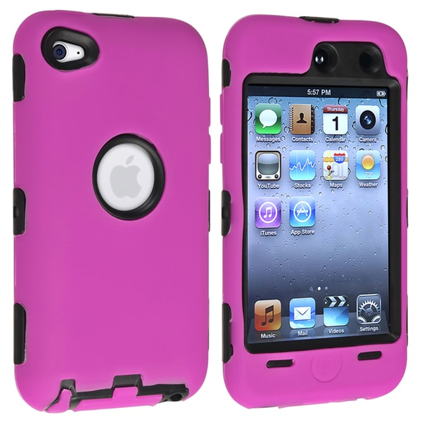 INSTEN Black/ Pink Hybrid iPod Case Cover for Apple iPod touch Generation 4
