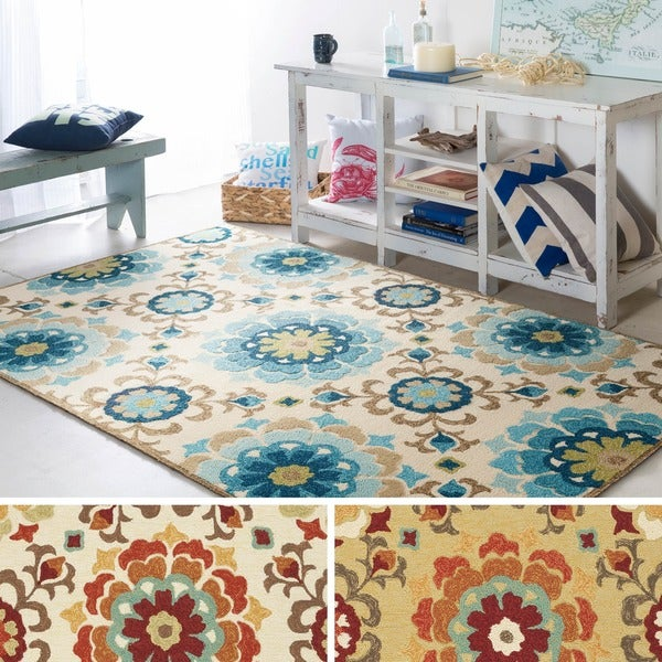 Hand-hooked Doral Indoor/Outdoor Floral Medallion Area Rug - 2' x 3'