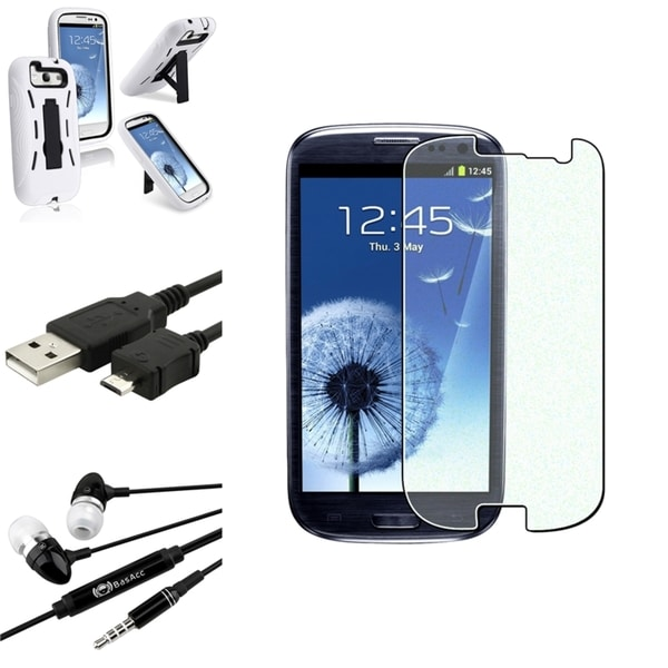 BasAcc White Dual-Layer Case/Screen Protector/Headset for Samsung Galaxy S3