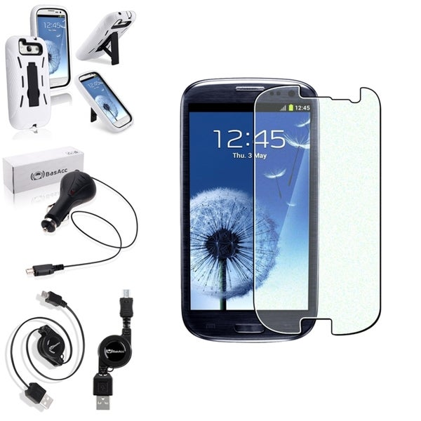 BasAcc White Hands-Free Case/Screen Protector/Charger for Samsung Galaxy S3