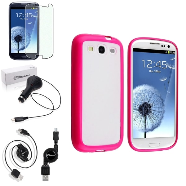 BasAcc Pink Trim Case/Anti-Glare Screen Protector/Charger for Samsung Galaxy S3