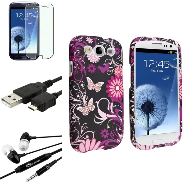 INSTEN Pink Butterfly Snap-On Case Cover/ Screen Protector/ Headset for Samsung Galaxy S3
