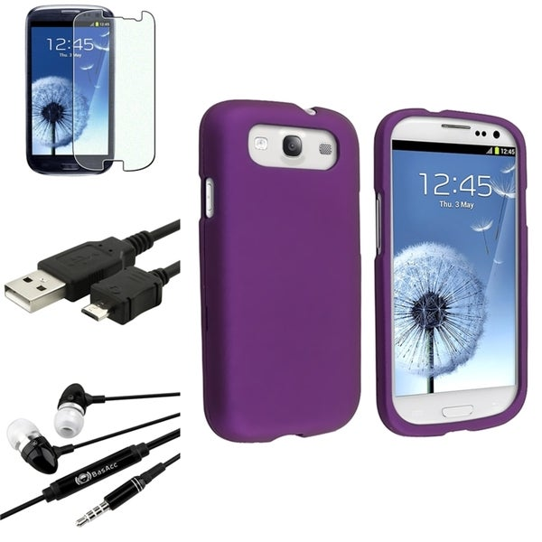 BasAcc Purple Snap-On Case/Screen Protector/Headset for Samsung Galaxy S3