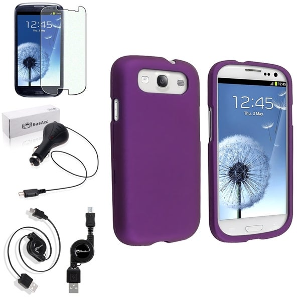 BasAcc Snap-On Purple Case/Screen Protector/Charger for Samsung Galaxy S3