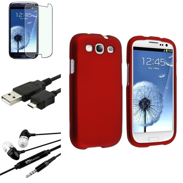 INSTEN Red Snap-On Case Cover/ Screen Protector/ Headset for Samsung Galaxy S3