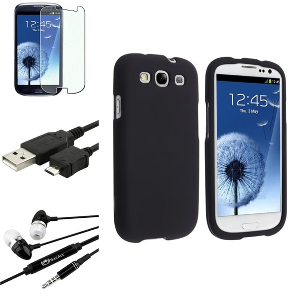 INSTEN Black Snap-On Phone Case Cover/ Screen Protector/ Headset for Samsung Galaxy S3