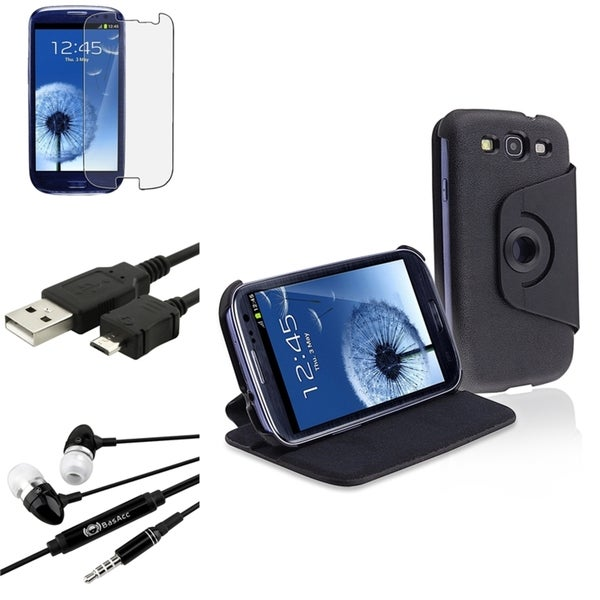 INSTEN Swivel Case Cover/ Screen Protector/ Headset for Samsung Galaxy S3