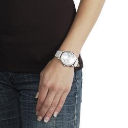 Geneva Platinum Women's Rhinestone Crocodile Pattern Strap Watch - Thumbnail 2