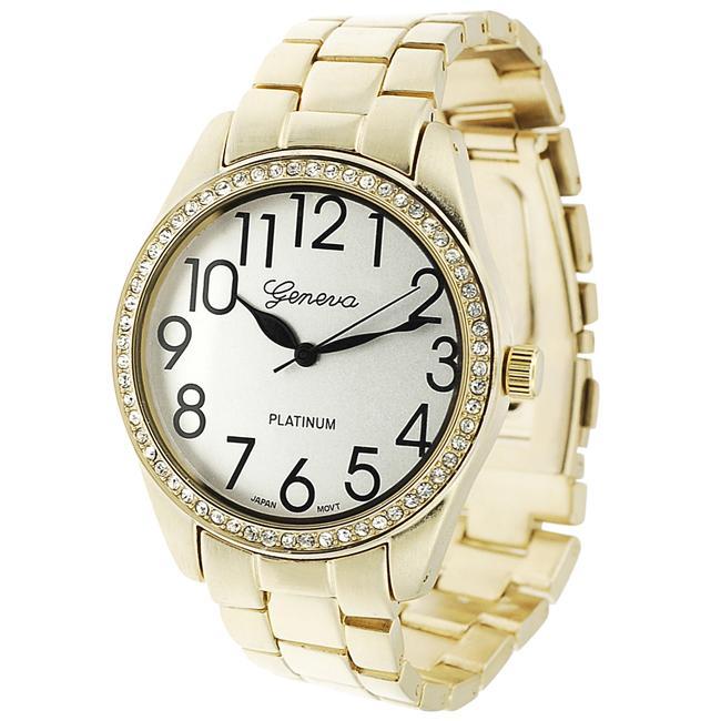 Geneva Platinum Women's Rhinestone-accented Large Face Link Watch