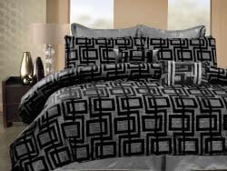 Geo Hotel Black/ Silver Queen-size 8-piece Comforter Set - Thumbnail 1