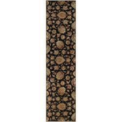 Hand-tufted Caper Black Wool Rug (3' x 12')