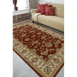 Hand-tufted Kaiser Red Wool Rug (6' x 9') - Thumbnail 2