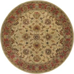 Hand-tufted Vault Beige/Red Traditional Border Wool Rug (9'9 Round)