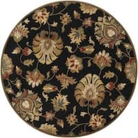 Hand-tufted Caper Black Wool Area Rug (8' Round)