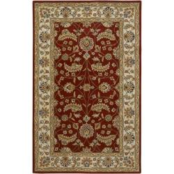 Hand-tufted Kaiser Red Wool Area Rug (6' x 9') - Thumbnail 0