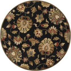 Hand-tufted Caper Black Wool Rug (4' Round)