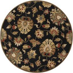Hand-tufted Caper Black Wool Rug (6' Round)