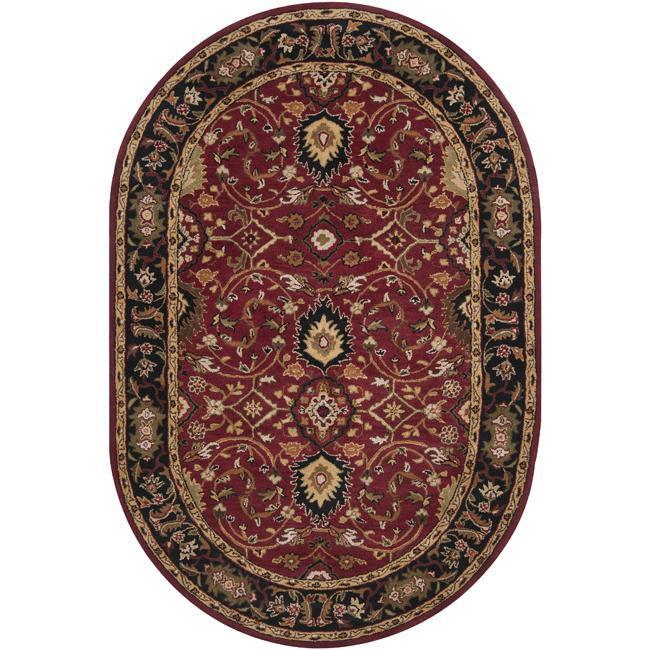 Hand-tufted Hellenic Burgundy Wool Area Rug (8' x 10' Oval)