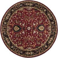 Hand-tufted Hellenic Red Wool Area Rug (8' Round)
