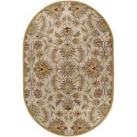 Hand-tufted Stage Gold Wool Area Rug (8' x 10' Oval)