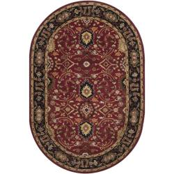 Hand-tufted Hellenic Burgundy Wool Rug (8' x 10' Oval)