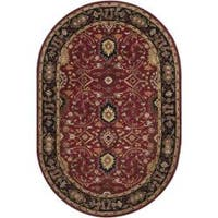 Hand-tufted Hellenic Burgundy Wool Area Rug (8' x 10' Oval)
