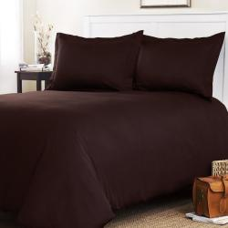 Roxbury Park Solid Chocolate Queen-size 3-piece Duvet Cover Set - Thumbnail 1