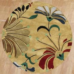 Alliyah Handmade Cornstalk New Zealand Blend Wool Rug (6' Round)