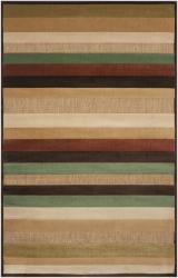 Woven Warm Stripes Olefin Natural Area Rug (7'10 x 10'8)