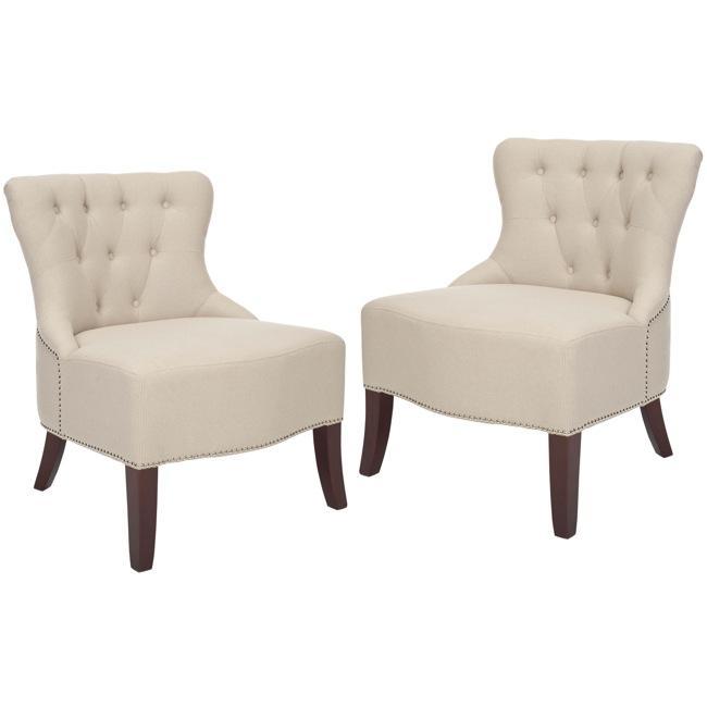Safavieh Newbury Tufted Nailhead Beige Living Room Chairs ...