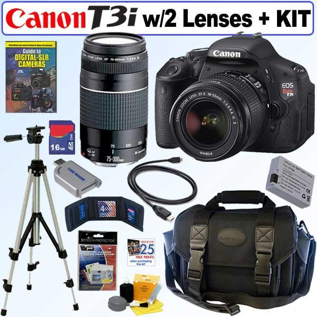 Canon EOS Rebel T3I 18MP DSLR Camera with 18-55 IS II & 75-300 Lenses with 16GB Kit