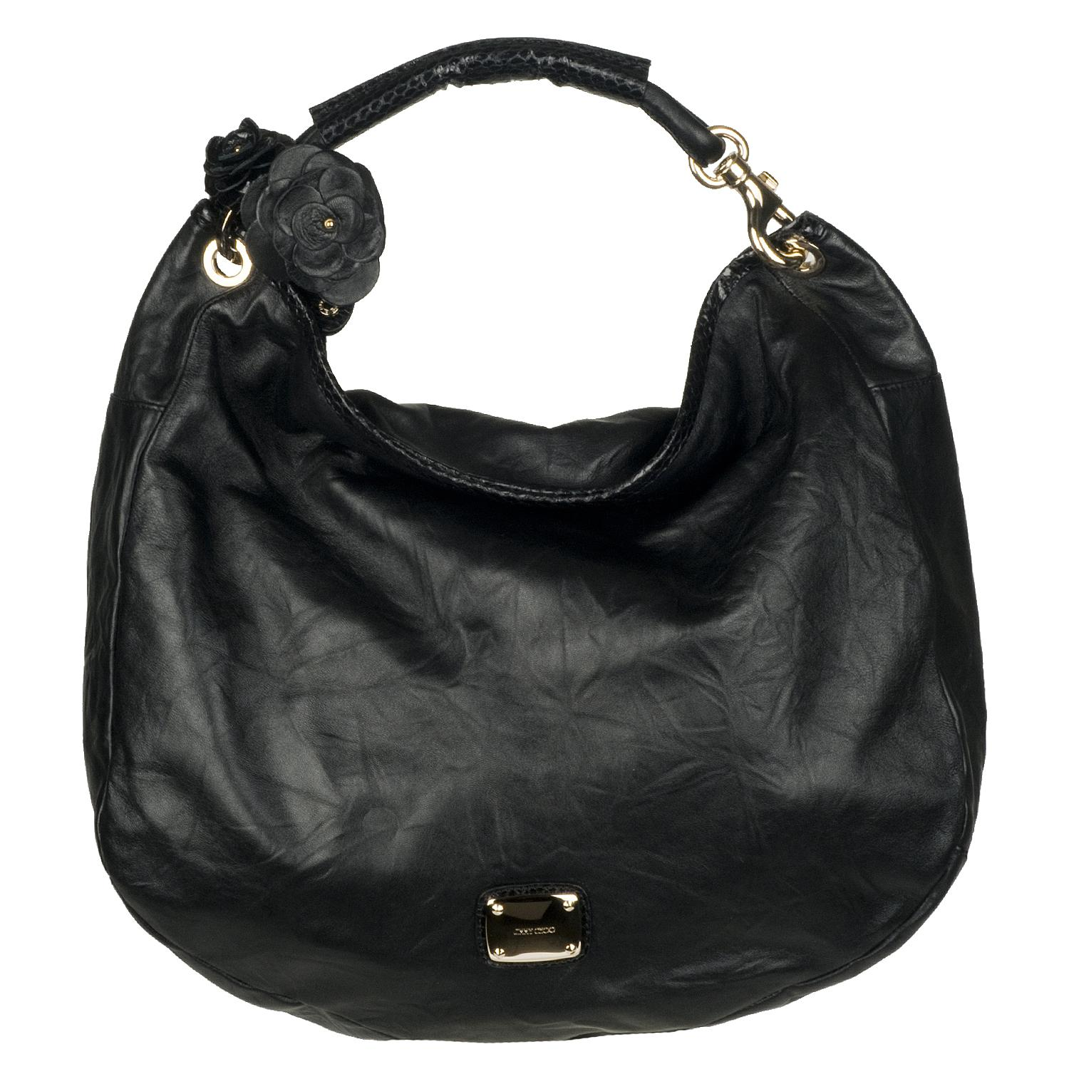 Jimmy Choo Sky Black Leather Hobo Bag Free Shipping Today