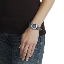 Geneva Platinum Women's Rhinestone-accented Cross Silicone Watch