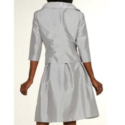 Divine Apparel Women's Missy Silver Taffeta Ruffled Jacket 2-piece Dress