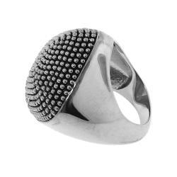Silvertone Chunky Black Studded Ring - Thumbnail 1