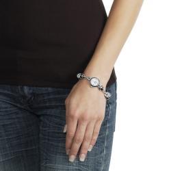 Geneva Platinum Women's Rhinestone-accented Beaded Toggle Watch - Thumbnail 2