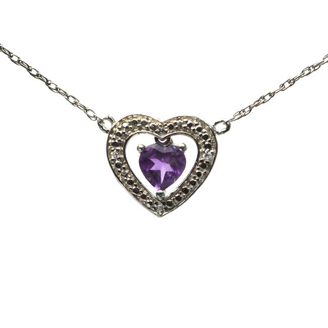 Sterling Silver Amethyst Heart Necklace - Thumbnail 0