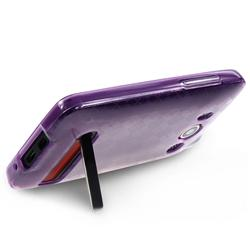 Clear/ Dark Purple Argyle TPU Rubber Case for HTC EVO 4G - Thumbnail 1