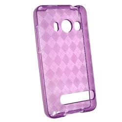 Clear/ Dark Purple Argyle TPU Rubber Case for HTC EVO 4G - Thumbnail 2
