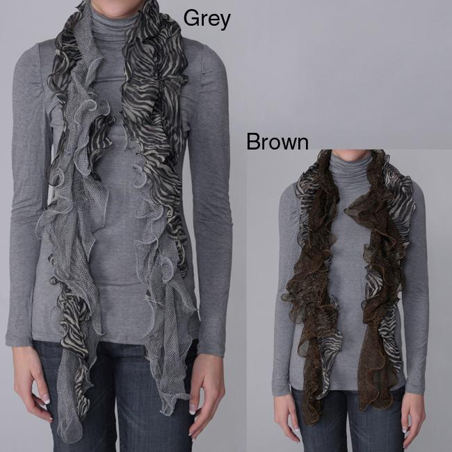 Journee Collection Women's Zebra Print Mesh Scarf