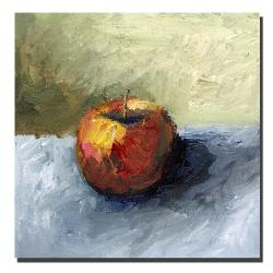 Michelle Calkins 'Apple Still Life with Grey and Olive' Canvas Art