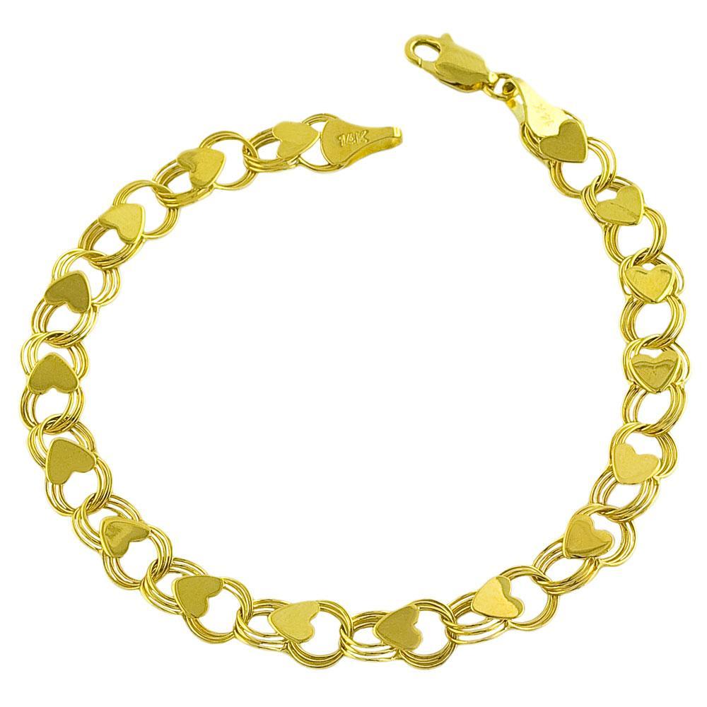 14k Yellow Gold 7-inch Heart Link Charm Bracelet