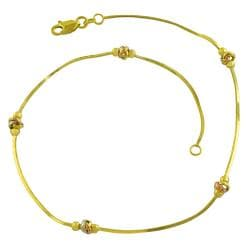 Fremada 14k Tri-color Gold 10-inch Love Knot Anklet