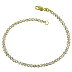 14k Two-tone Gold Diamond-cut Fancy Link Bracelet