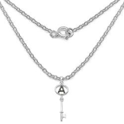 Malaika Sterling Silver Black Diamond Accent 'A' Initial Key Necklace - Thumbnail 1