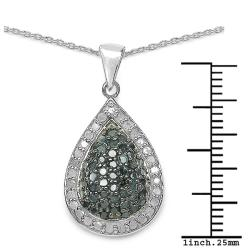Malaika Gold over Silver 3/4ct TDW Blue and White Diamond Teardrop Halo Necklace (I-J, I2-I3) - Thumbnail 2
