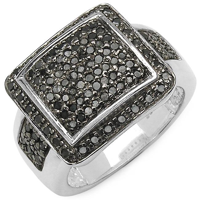 Malaika Sterling Silver 5/8ct TDW Black Diamond Cocktail Ring
