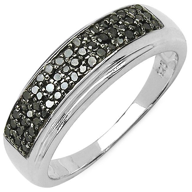Malaika Sterling Silver 1/3ct TDW Black Diamond Ring